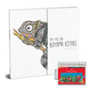 Faber-Castell Keçeli Boya Kalemi 20 Renk + Her Yaş İçin Çek Kopart Boyama Kitabı - Hayvanlar Alemi 1