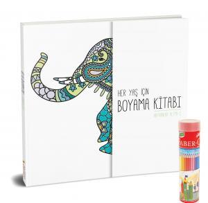 Faber-Castell Kuru Boya Metal Tüp Kutu Tam Boy 24 Renk Kalemtraş Hediyeli + Her Yaş İçin Çek Kopart Boyama Kitabı - Hayvanlar Alemi 2