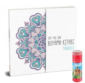Faber-Castell Kuru Boya Metal Tüp Kutu Tam Boy 36 Renk Kalemtraş Hediyeli + Her Yaş İçin Çek Kopart Boyama Kitabı - Mandala