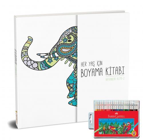 Faber-Castell Keçeli Boya Kalemi 20 Renk + Her Yaş İçin Çek Kopart Boyama Kitabı - Hayvanlar Alemi 2