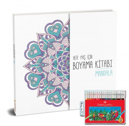 Faber-Castell Keçeli Boya Kalemi 20 Renk + Her Yaş İçin Çek Kopart Boyama Kitabı - Mandala