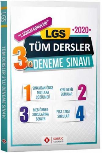 Sonuç Yayınları LGS 1. Dönem Tüm Dersler 3'lü Deneme Sınavı Komisyon